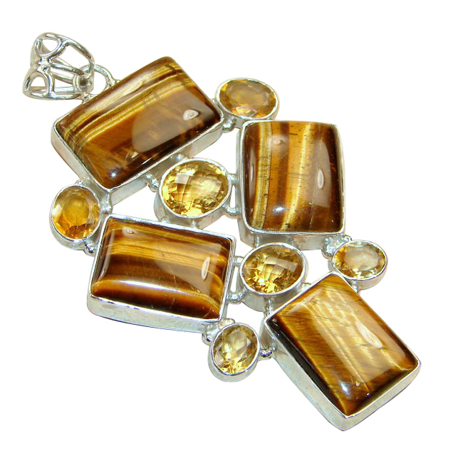 <b>Product details</b>,,Material : Sterling Silver,Main stone : Tigers Eye,Other stones : Citrine,Main color : brown
