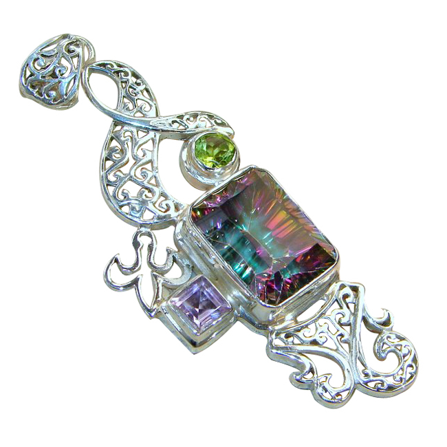 <b>Product details</b>,,Material : Sterling Silver,Main stone : Mystic Fire Topaz,Other stones : Peridot, Amethyst,Main color : multicolor